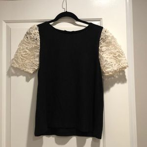 Zara sweater blouse with lace puffy sleeves